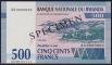 Rwanda 500 francs 1994 UNC Specimen