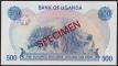 Uganda 500 shillings 1983 Specimen UNC
