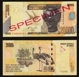 Конго 20000 франков 2006 Образец UNC
