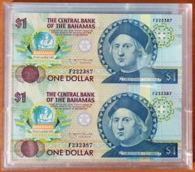 Багамы 1 доллар 1992 UNC Сцепка в подарочной упаковке