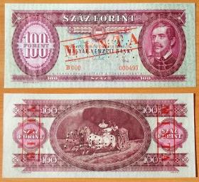 Венгрия 100 форинтов 1968 Образец UNC